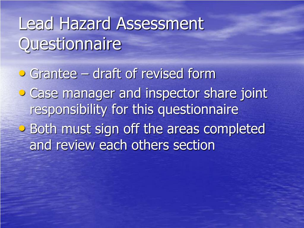 Lead Hazard Assessment Questionnaire