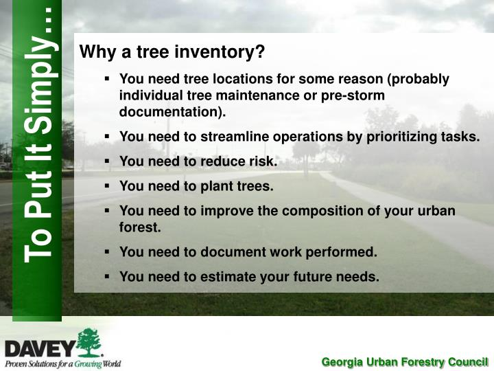 Why a tree inventory?
