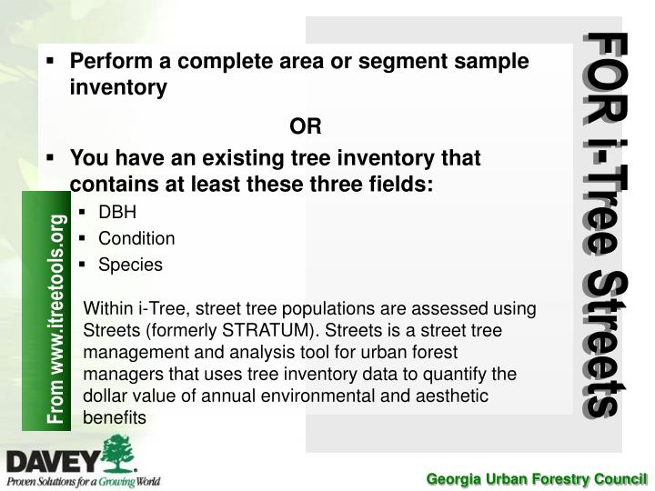 Perform a complete area or segment sample inventory