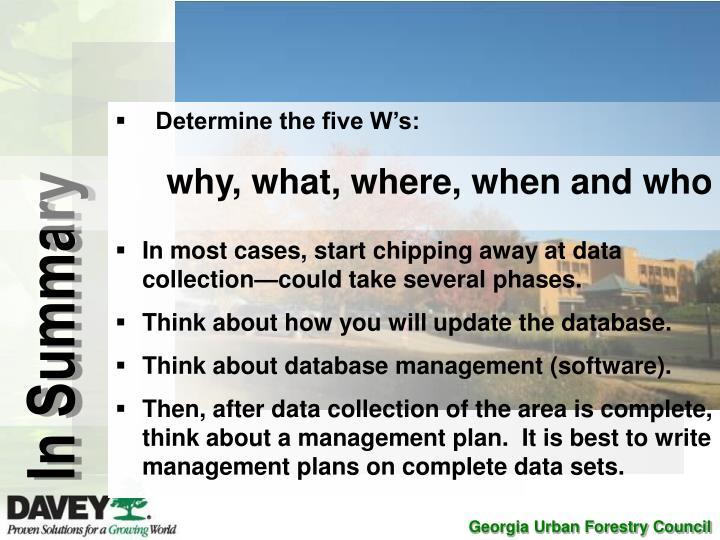 Determine the five W's: