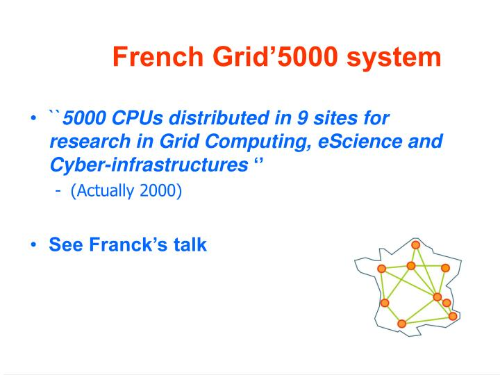 French Grid'5000 system