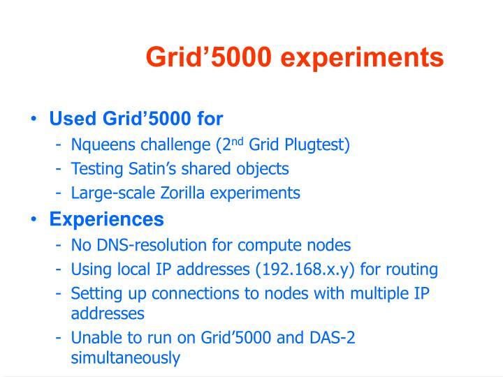 Grid'5000 experiments