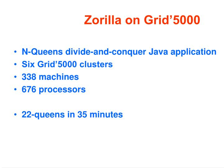 Zorilla on Grid'5000