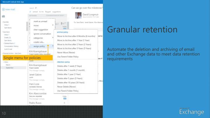 Granular retention