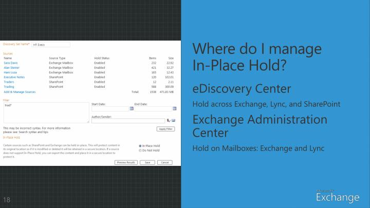Where do I manage In-Place Hold?
