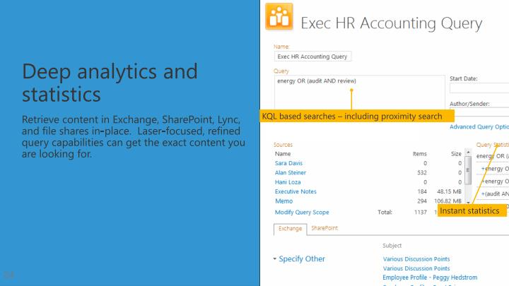 Retrieve content in Exchange, SharePoint, Lync, and file shares in-place.  Laser-focused, refined query capabilities can
