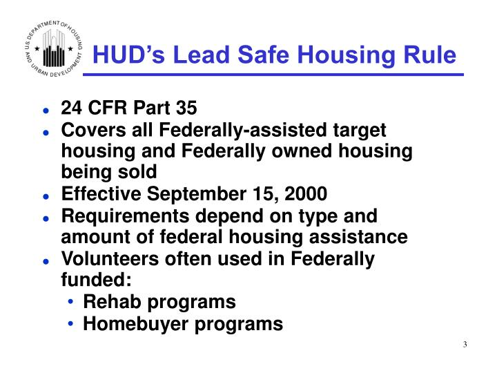Hud s lead safe housing rule