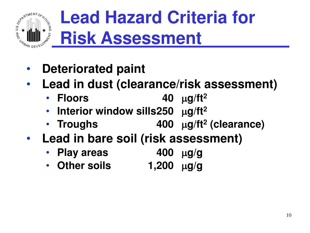 Lead Hazard Criteria for Risk Assessment