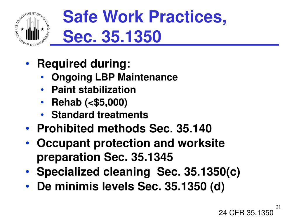 Safe Work Practices,