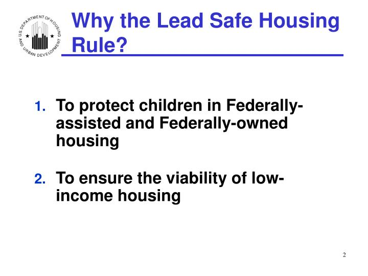 Why the lead safe housing rule