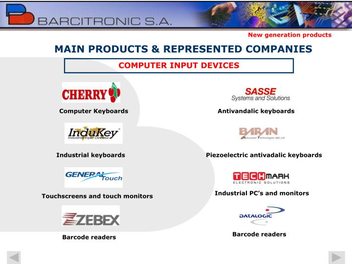 MAIN PRODUCTS & REPRESENTED COMPANIES