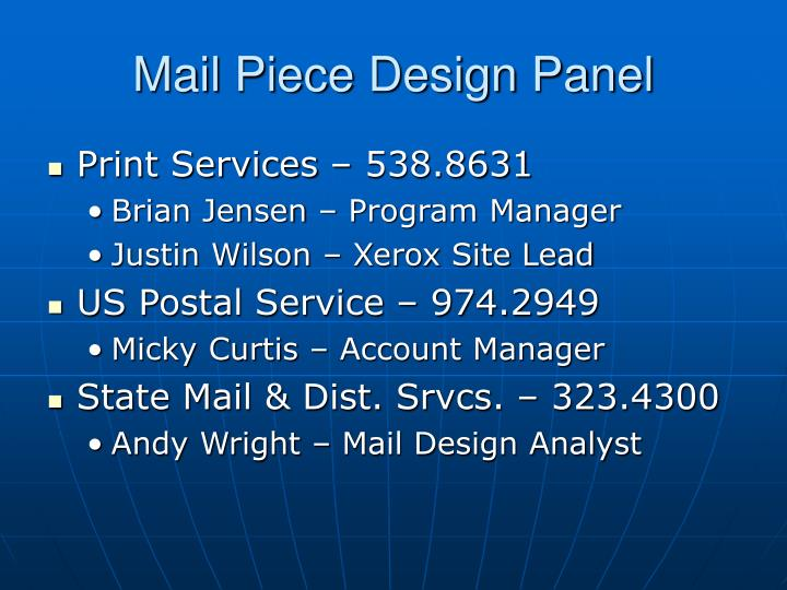 Mail Piece Design Panel
