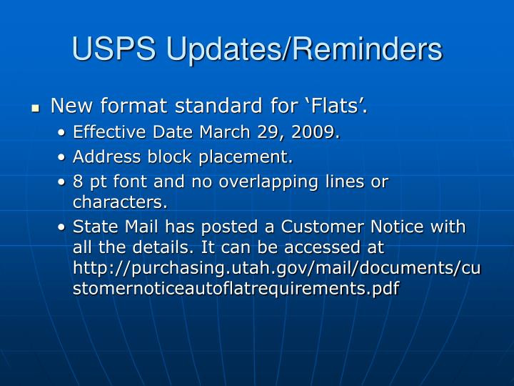 USPS Updates/Reminders