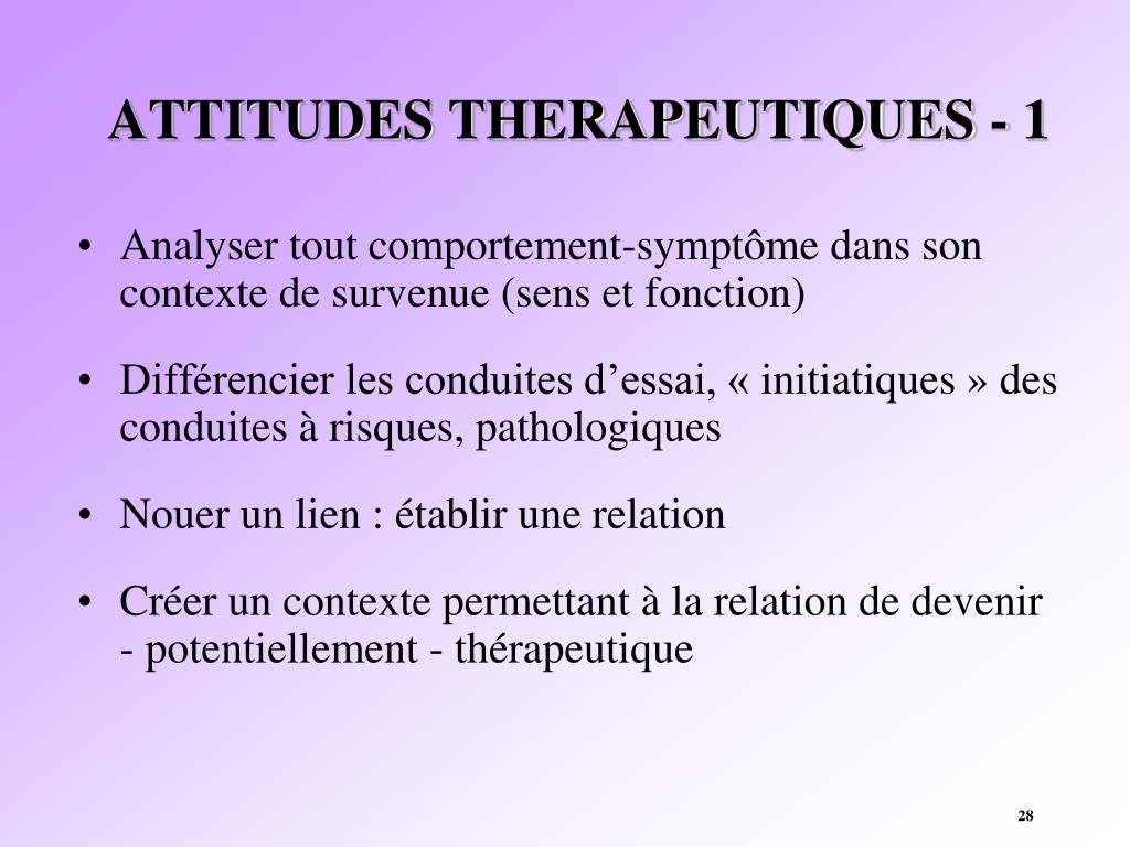 ATTITUDES THERAPEUTIQUES - 1