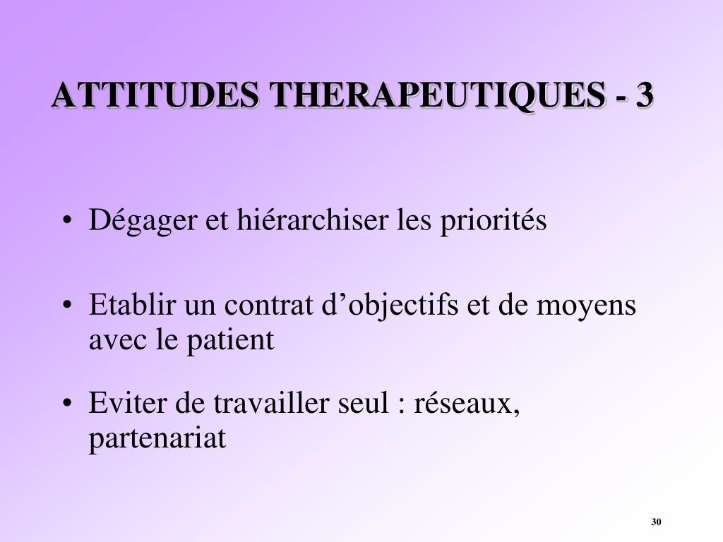 ATTITUDES THERAPEUTIQUES - 3