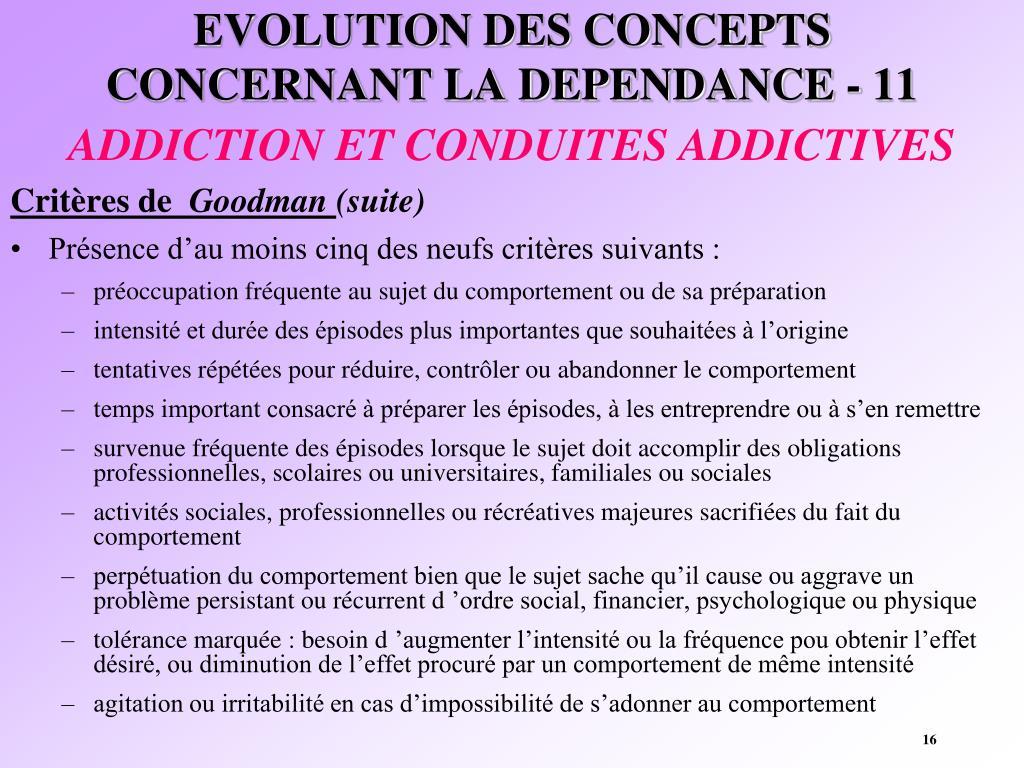EVOLUTION DES CONCEPTS CONCERNANT LA DEPENDANCE - 11