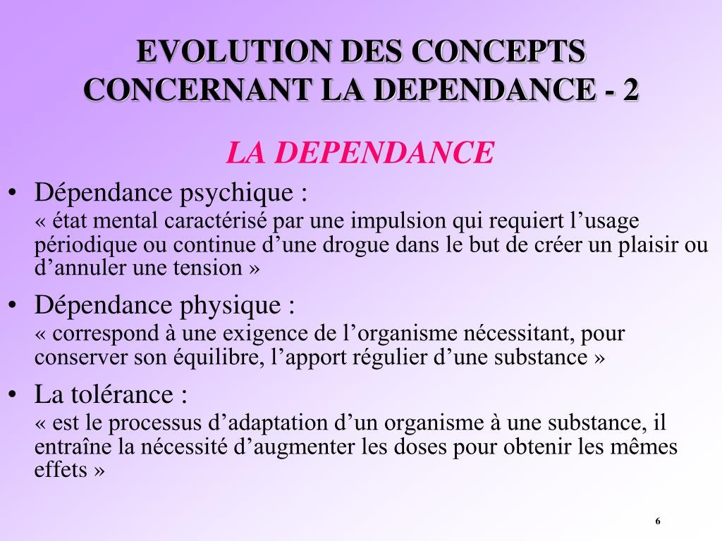 EVOLUTION DES CONCEPTS CONCERNANT LA DEPENDANCE - 2