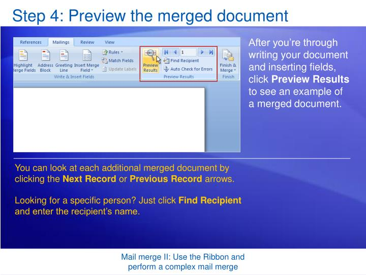 Step 4: Preview the merged document