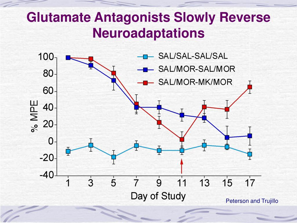 Glutamate Antagonists Slowly Reverse Neuroadaptations