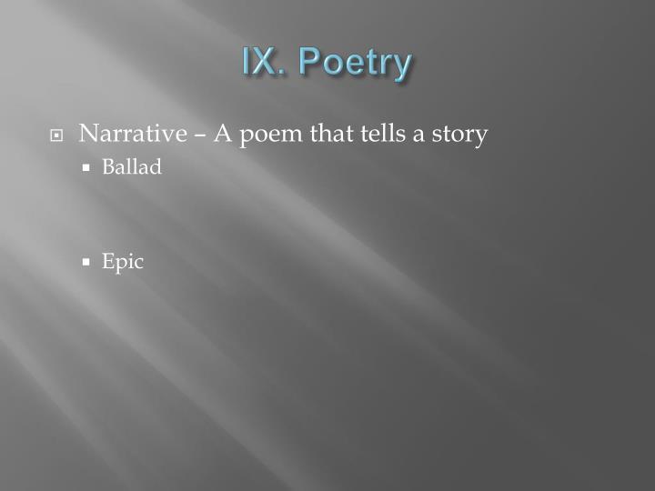 IX. Poetry