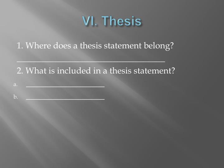 VI. Thesis