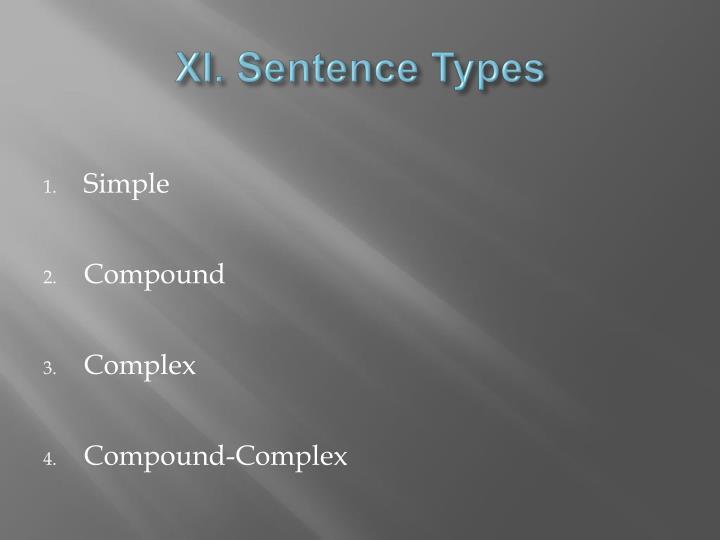 XI. Sentence Types