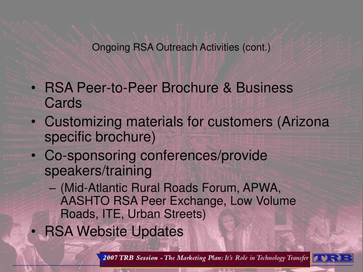 Ongoing RSA Outreach Activities (cont.)