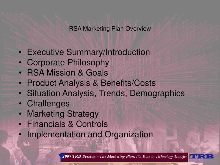 RSA Marketing Plan Overview