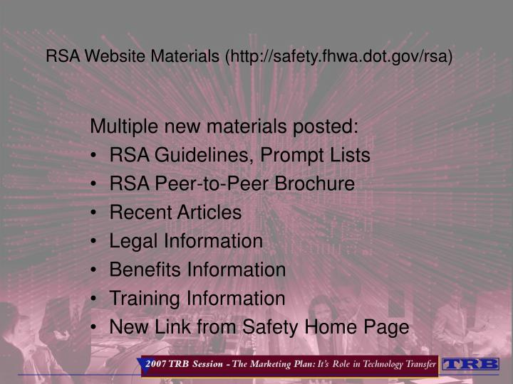 RSA Website Materials (http://safety.fhwa.dot.gov/rsa)