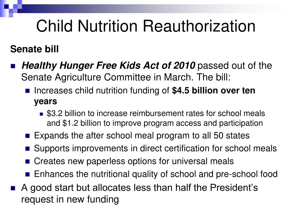 Child Nutrition Reauthorization