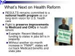what s next on health reform