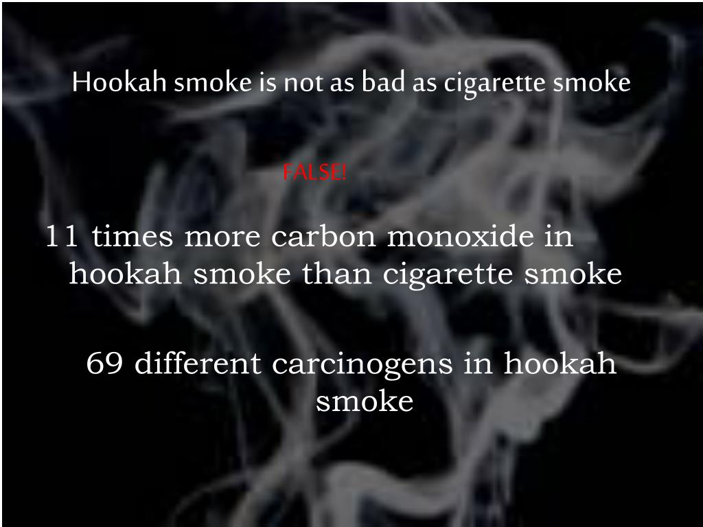 Hookah smoke is not as bad as cigarette smoke