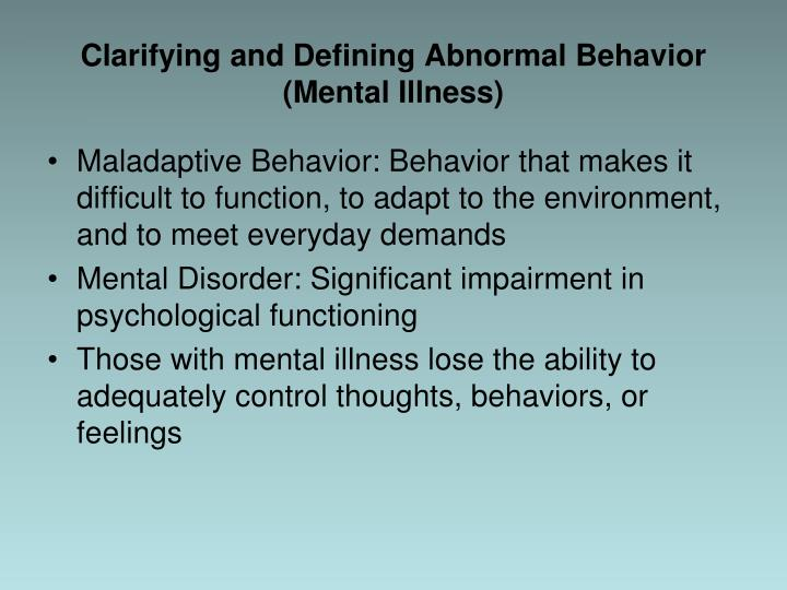 Clarifying and Defining Abnormal Behavior