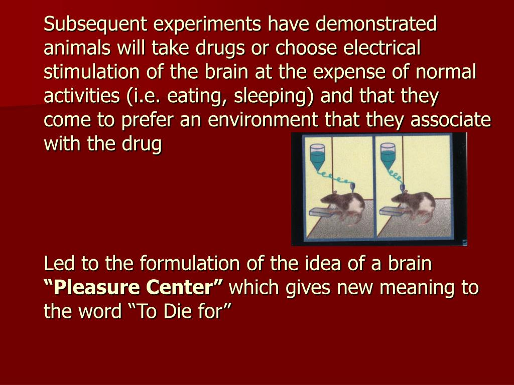 Subsequent experiments have demonstrated animals will take drugs or choose electrical                stimulation of the brain at the expense of normal activities (i.e. eating, sleeping) and that they come to prefer an environment that they associate with the drug