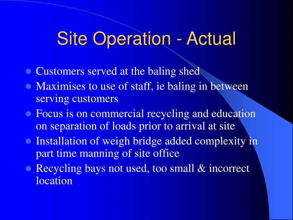 Site Operation - Actual