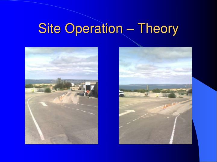 Site operation theory
