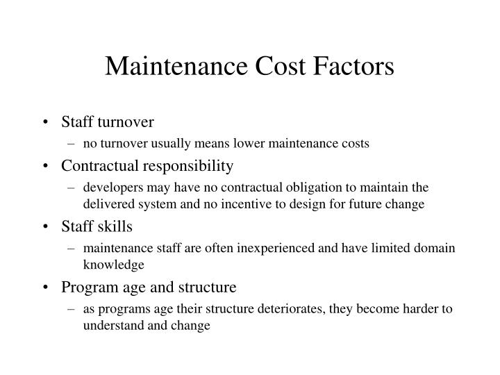 Maintenance Cost Factors