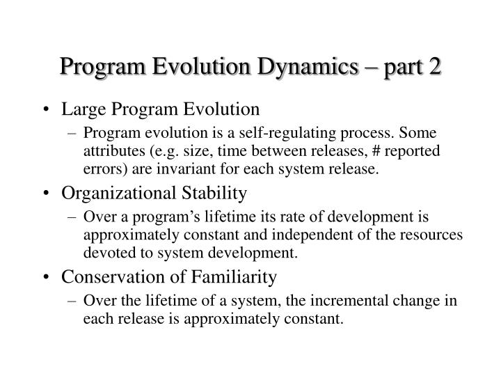 Program Evolution Dynamics – part 2