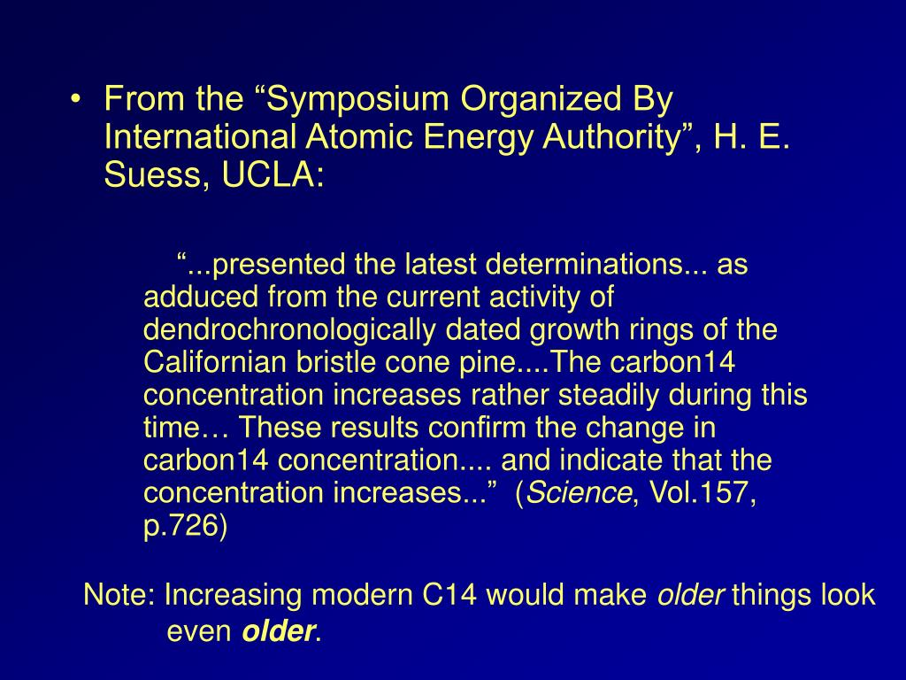 "From the ""Symposium Organized By International Atomic Energy Authority"", H. E. Suess, UCLA:"
