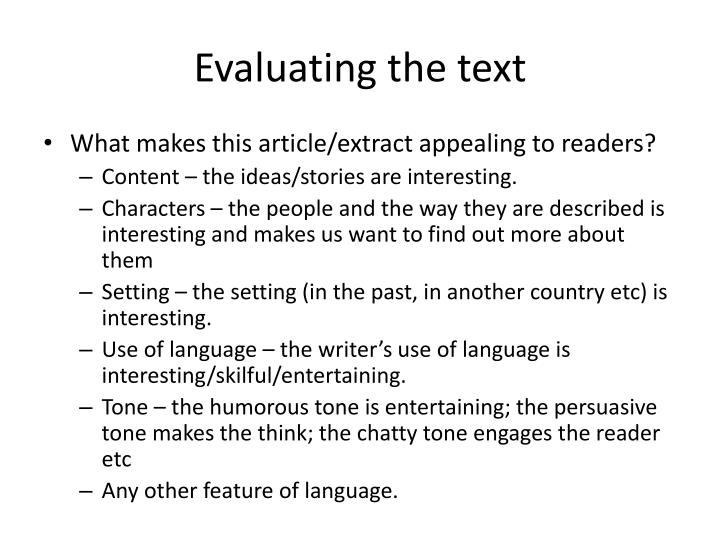 Evaluating the text