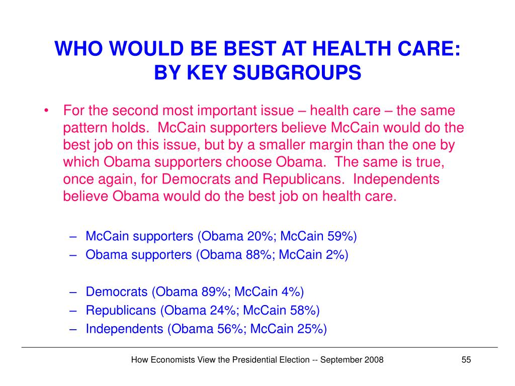 WHO WOULD BE BEST AT HEALTH CARE: