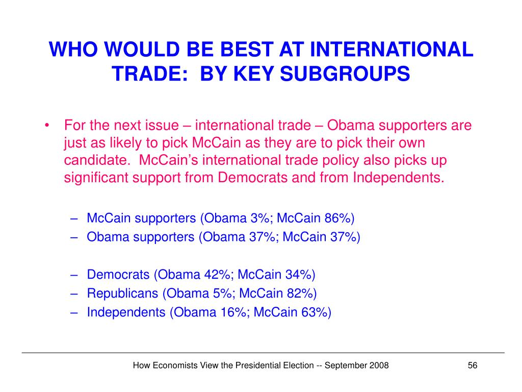 WHO WOULD BE BEST AT INTERNATIONAL TRADE:  BY KEY SUBGROUPS