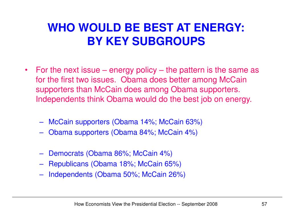WHO WOULD BE BEST AT ENERGY:
