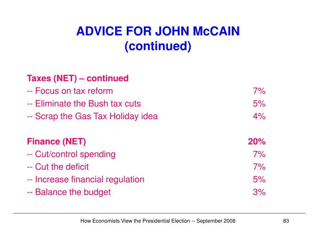 ADVICE FOR JOHN McCAIN