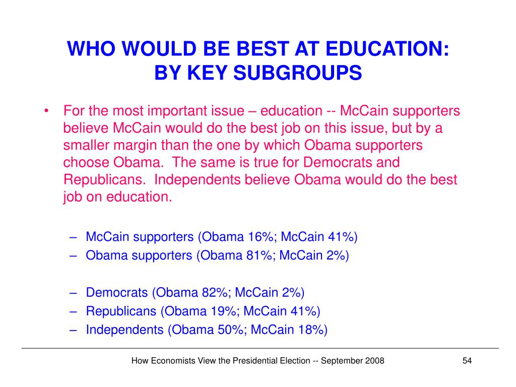 WHO WOULD BE BEST AT EDUCATION: