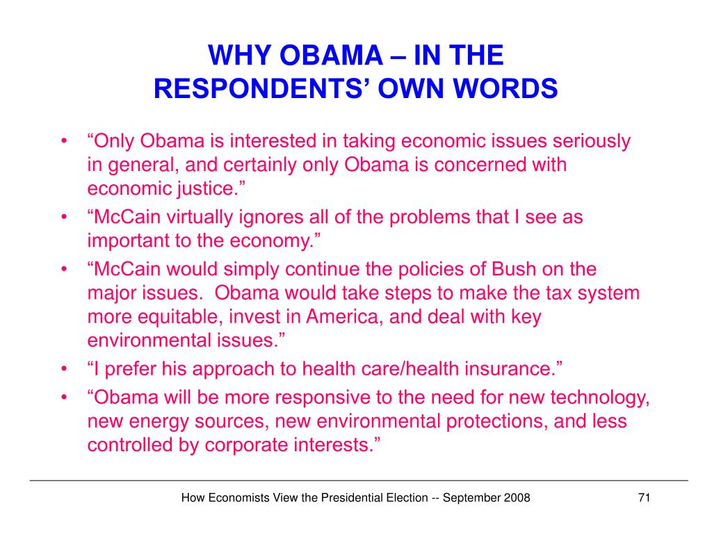 WHY OBAMA – IN THE