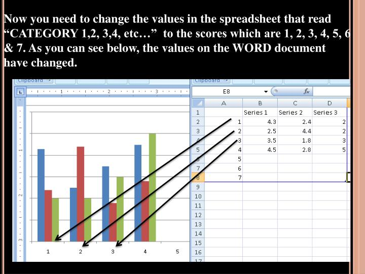 "Now you need to change the values in the spreadsheet that read ""CATEGORY 1,2, 3,4, etc…""  to the scores which are 1, 2, 3, 4, 5, 6 & 7. As you can see below, the values on the WORD document have changed."