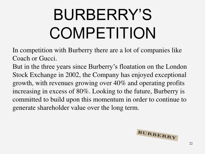 BURBERRY'S COMPETITION