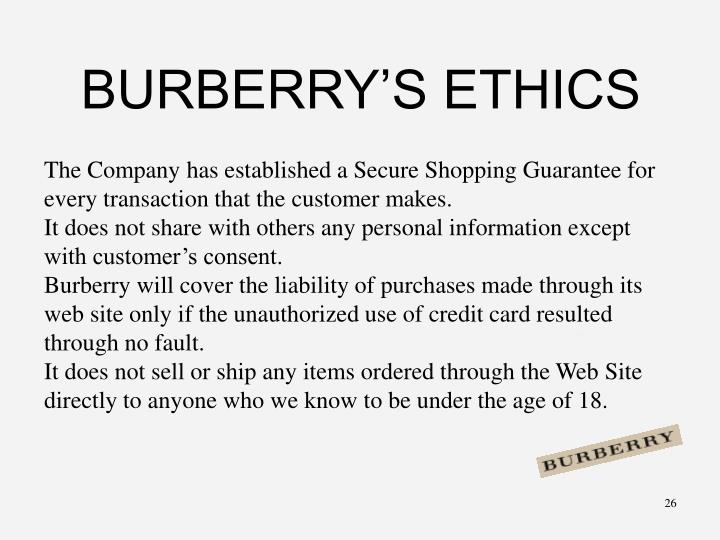 BURBERRY'S ETHICS