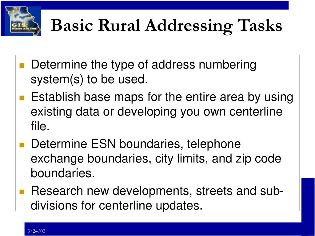 Basic Rural Addressing Tasks